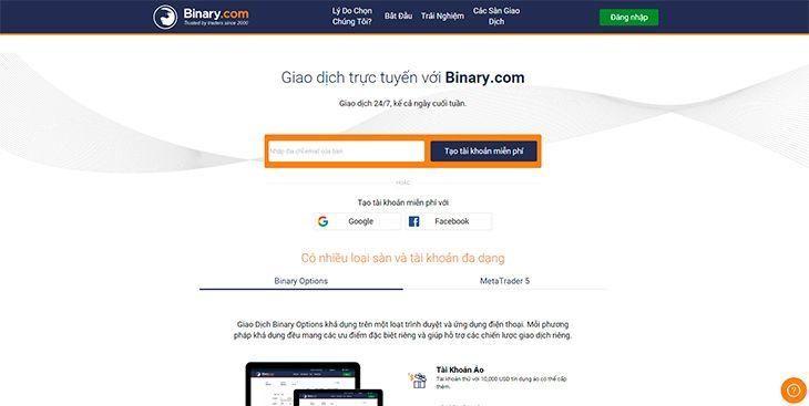 Hướng dẫn mở tài khoản giao dịch trên Binary.com